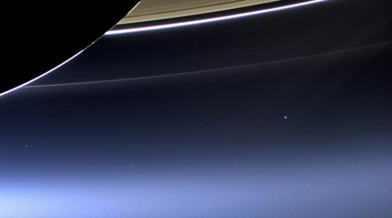 Cassini's latest image of Earth caught beneath Saturn's rings.