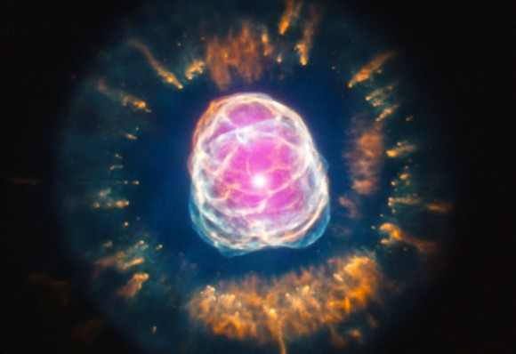The Eskimo Nebula is shown in an image taken by NASA's Chandra and Hubble space telescopes.
