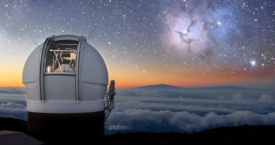 A photo of the Pan-STARRS 1 telescope on Hawaii with an image atop Haleakala, Maui, with an image of the Trifid Nebula taken by the telescope, thrown in for colourful effect. Credit: PS1 Science Consortium.