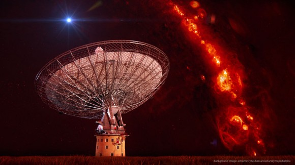 The CSIRO Parkes radio telescope superimposed on an image of gas in our Galaxy and an artist's impression of a single radio burst. Credit: Swinburne Astronomy Productions