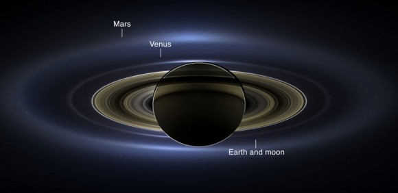Annotated image shows the position of the planets