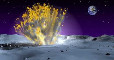 A NASA artist's impression of a small asteroid striking the Moon.