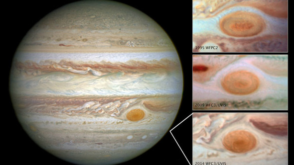 Jupiter from Hubble on 14 April, 2014, and showing how its Great Red Spot has shrunk over the last two decades. Credit: NASA, ESA, and A. Simon (Goddard Space Flight Center)