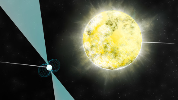 An artist's impression of the white dwarf orbiting the pulsar. While both have a similar mass, the pulsar is much denser, hence its smaller size. Image credit: B. Saxton (NRAO/AUI/NSF)