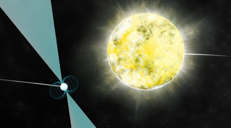 An artist's impression of the white dwarf orbiting the pulsar.