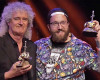 Matt Taylor, right, with Brian May at the awards ceremony. Image credit: YouTube