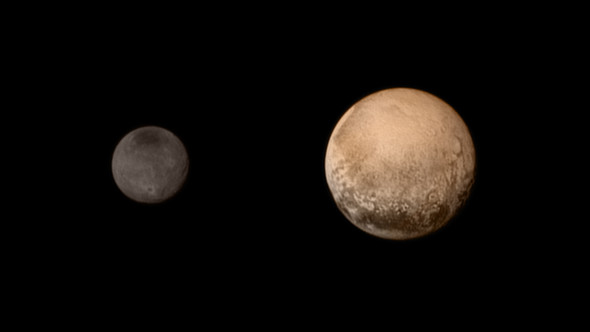 Pluto and Charon display striking color and brightness contrast in this composite image from July 11, showing high-resolution black-and-white LORRI images colorized with Ralph data collected from the last rotation of Pluto. Image credit: NASA-JHUAPL-SWRI