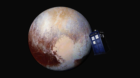 Four images from New Horizons' Long Range Reconnaissance Imager (LORRI) were combined with colour data from the Ralph instrument to create this enhanced colour global view of Pluto, with the TARDIS then added. Pluto Image Credit: NASA/JHUAPL/SwRI