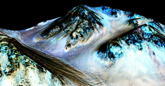 Streaks left by water on Mars