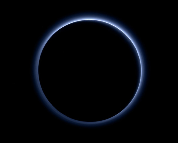 Pluto's blue atmosphere