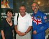 Astronauts Helen Sharman and Richard Garriott pictured with the writer, centre.