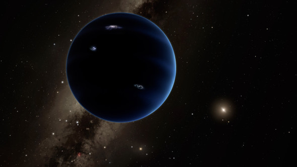 An artist's impression of Planet Nine, looking back towards the Sun and showing flashes of lightning in its clouds. Image credit: Caltech/R. Hurt (IPAC)