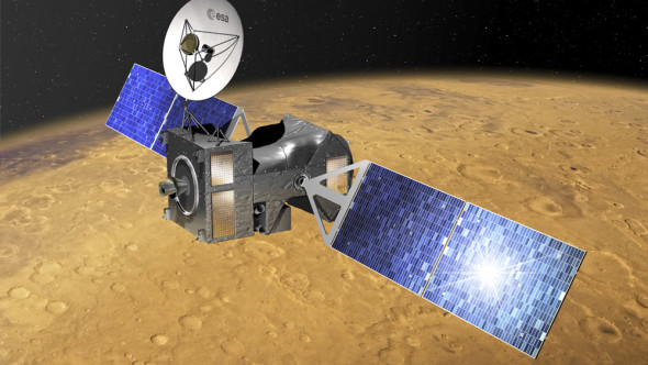Artist's impression of ExoMars' Trace Gas Orbiter flying above Mars. Image credit: ESA