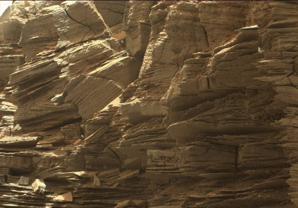 Layered rocks. Is there life on Mars