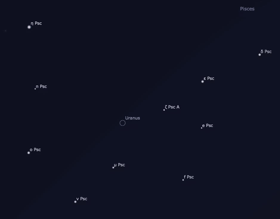 Detailed chart to help find Uranus in the night sky