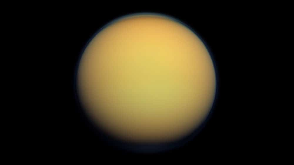Titan pictured from the Cassini spacecraft