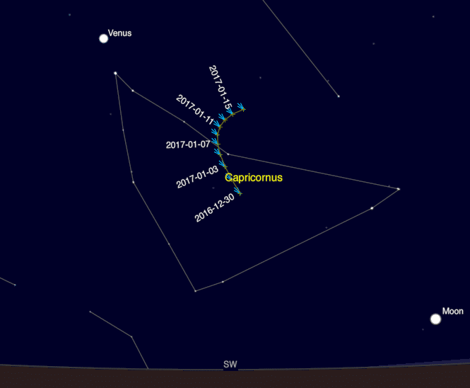 Chart showing Comet 45P's position over the New Year.
