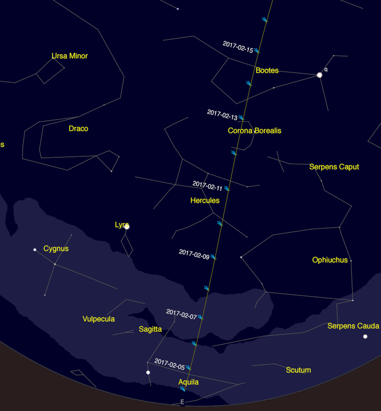 Chart showing Comet 45P's position in the morning sky in February.