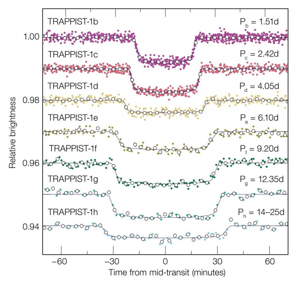 Light curves for TRAPPIST-1