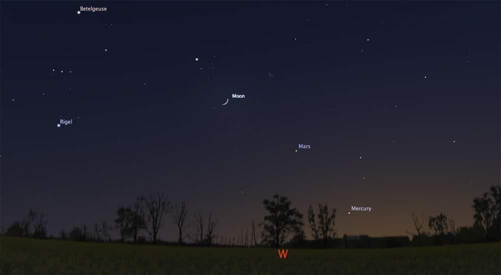 Mercury, Mars and the Moon