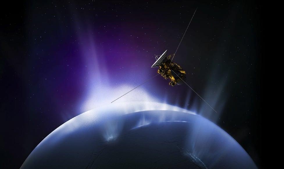 Cassini probe making a flight through the plumes of Enceladus