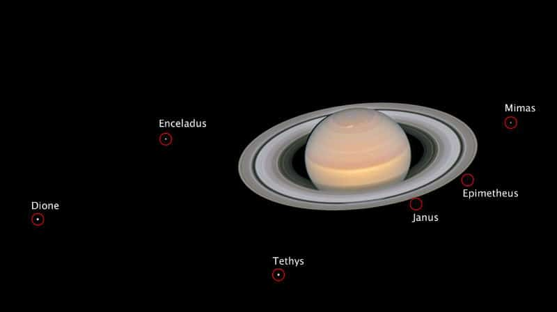 Saturn and its moons from Hubble