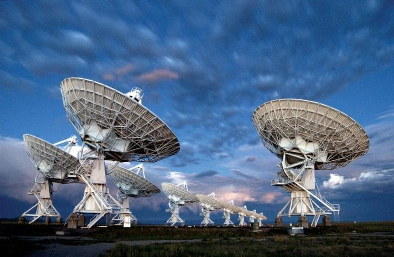 Twilight over radio telescopes forming the Karl G. Jansky Very Large Array in New Mexico