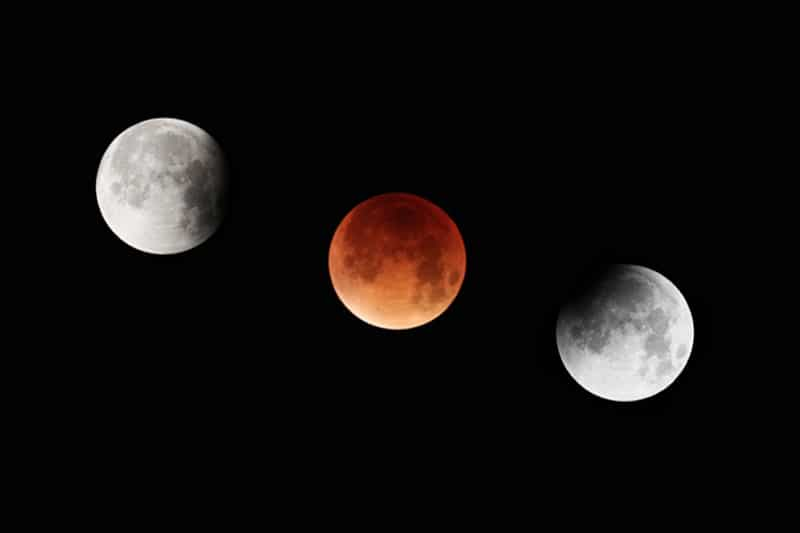 Stages of a total eclipse of the Moon