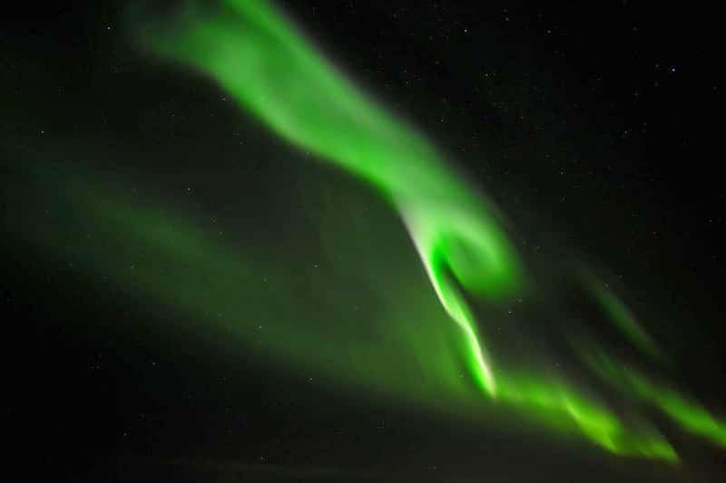 bright aurora seen from Iceland