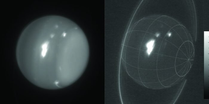 Uranus with Keck telescope showing storms