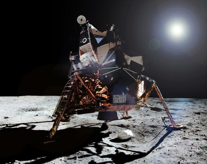 Aldrin leaves the lunar module