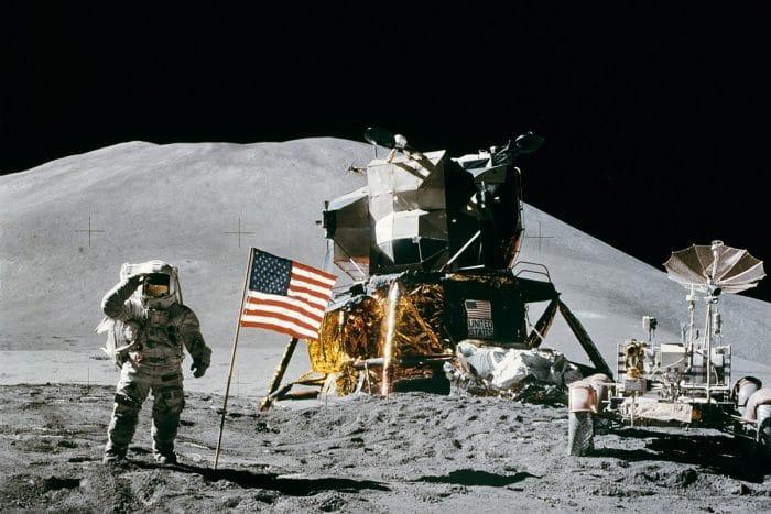 Apollo 15's Irwin salutes flag on Moon
