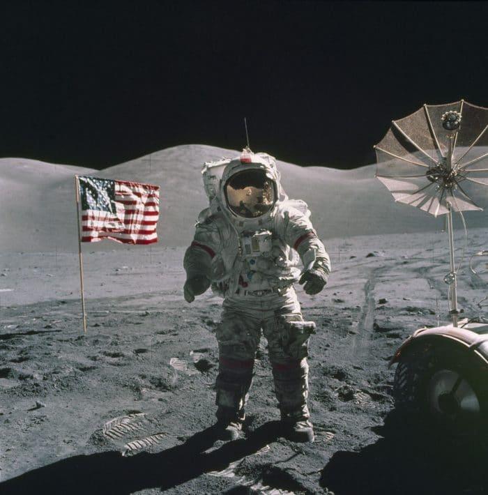 Apollo 17 commander Gene Cernan on the Moon