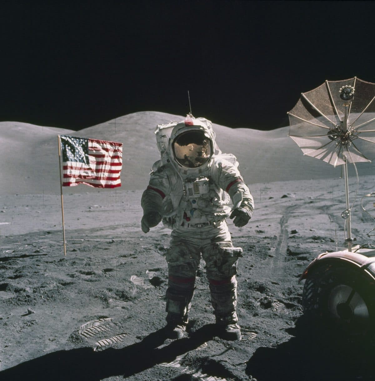 Apollo 17 commander Gene Cernan on the Moon