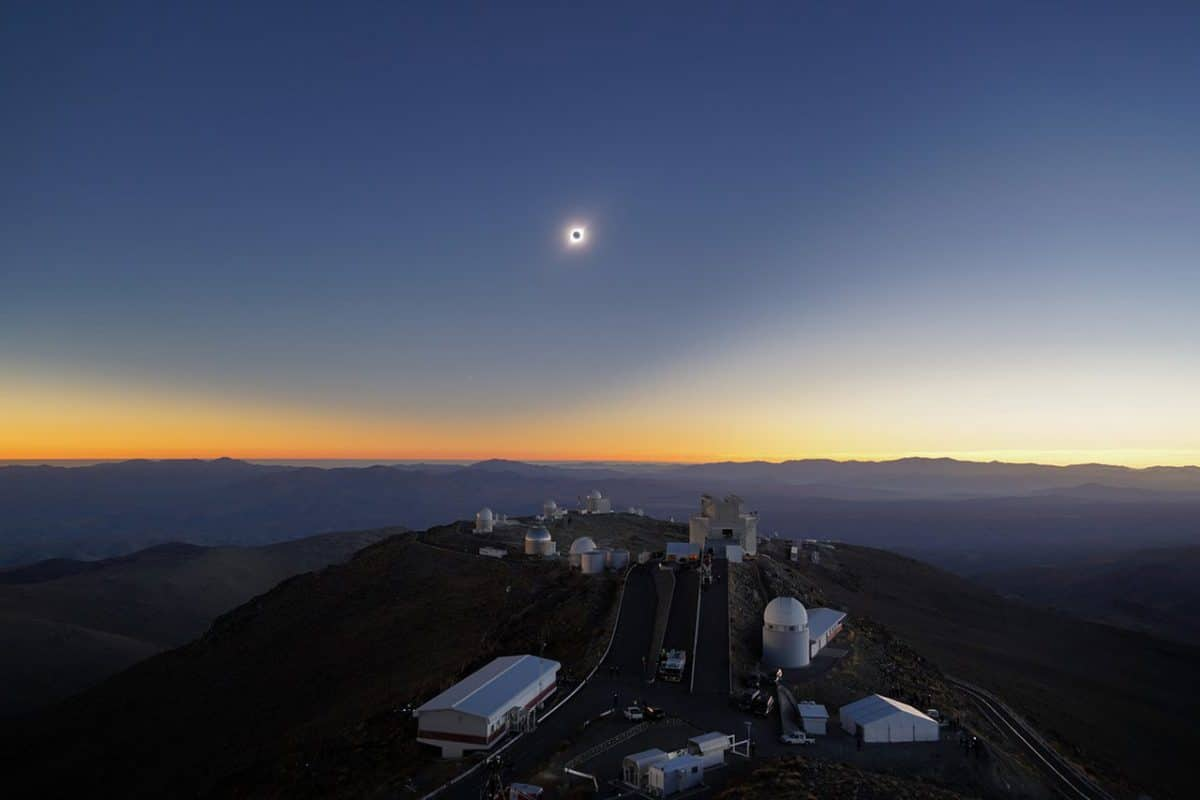 Wide-angle view of total solar eclipse