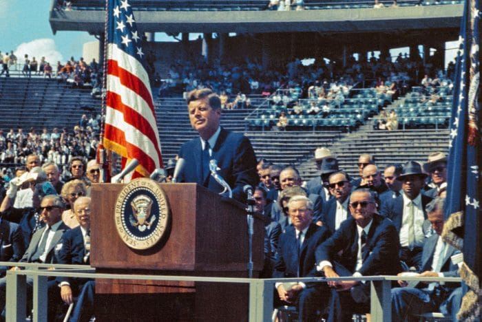 President Kennedy issues Moon challenge at Rice Stadium