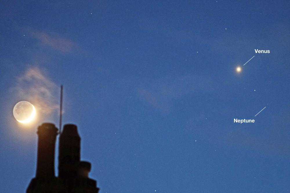 Moon, Venus and Neptune